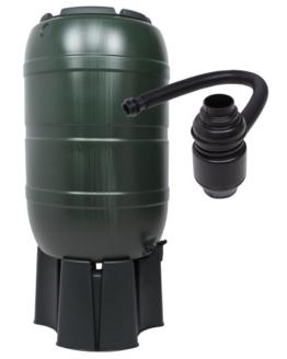 Regensammler Wassertonne für 210 Liter mit Standfuß, Füllautomat (Befüllsystem) und einem Verbindungs-Set für Wassertechnik -