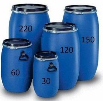 weithalsfass 120 Liter Blau mit Spannverschluss. Neu und Lebensmittelecht aus Polyethylen -