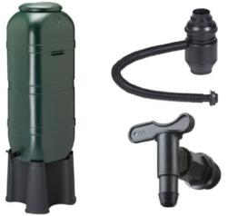 Regensammler Wassertonne für 100 Liter mit Standfuß, Füllautomat (Befüllsystem) und Wasserhahn bzw. Ablaufventil -
