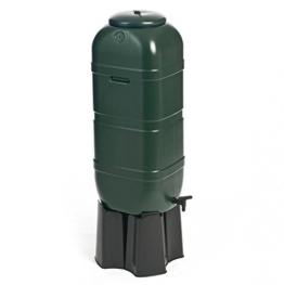 Regentonne, Wassertonne 100 Liter in Grün mit Stand, Füllautomat und Wasserhahn. Optimal u.a. für Balkone und Gartenlauben! Topp! -